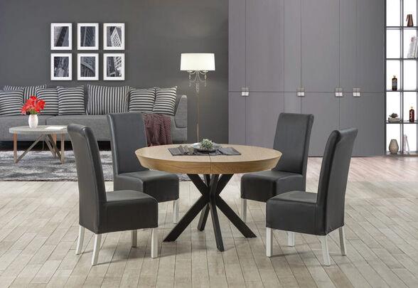 שולחן פינת אוכל עגול מפואר עשוי עץ בציפוי פורניר אלון  עם רגלי ברזל  מגיע ב-3 גדלים מסגרת חיצונית עם שיפוע - LEONARDO, , large image number null