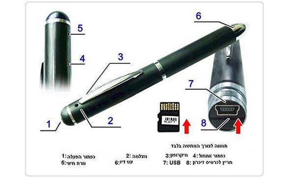 מצלמת ריגול זעירה מובנת בתוך עט יוקרתי צבעונית GARNDTEC בעלת איכות גבוהה HD | תומכת בכרטיסי זיכרון עד 16GB , , large image number null