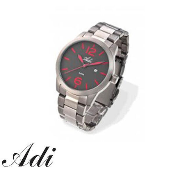 שעון יד לגבר ADI עם רצועת פלדת אל-חלד ותצוגת ספרות בצבע אדום - עמיד במים עד 50M, , large image number null