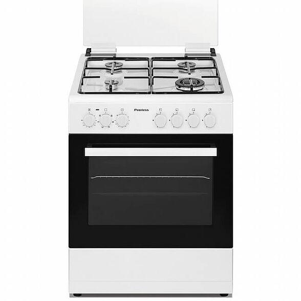 """תנור משולב כיריים גז 60 ס""""מ 60 ליטר 4 מבערים -9 תוכניות בישול ואפיה צבע לבן דגם מבית PEERLES דגם PR-6006 , , large image number null"""