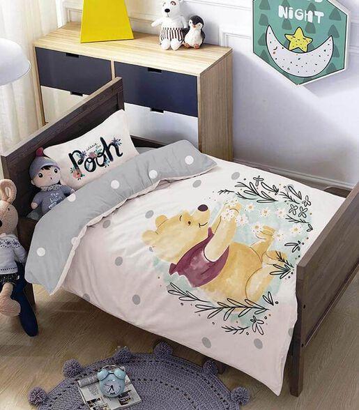 מצעים למיטת תינוק ומעבר 100% כותנה דגם פו אפור, , large image number null