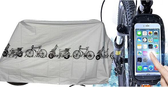 שני מוצרי חובה במחיר משתלם במיוחד! כיסוי אופניים דגם BIKE ונרתיק טלפון יוקרתי לקיבוע על שילדת האופניים., , large image number null