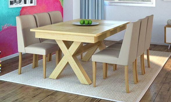 שמרת הזורע: פינת אוכל שולחן אוכל נפתח דגם  מיקס עץ מלא בשילוב פורניר ורגלי איקס, כולל כסאות דגם עדן | גוון כסאות לבחירה, , large image number null