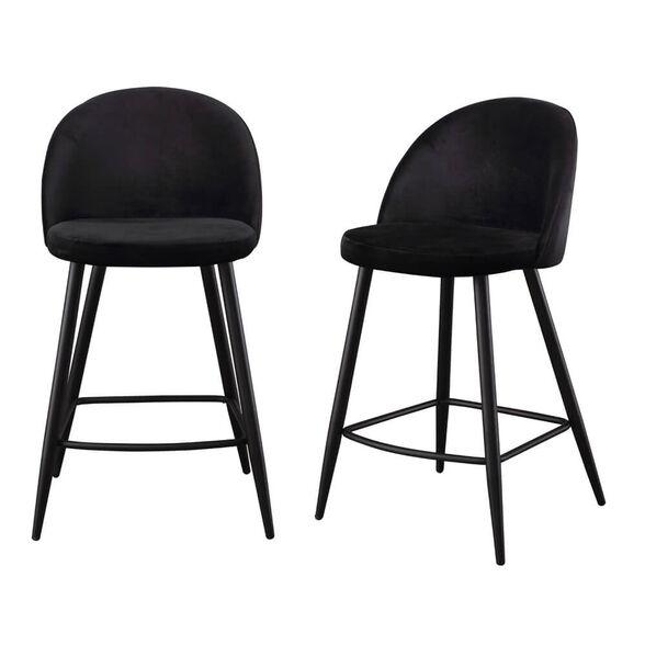 זוג כסאות בר מרופדים בד קטיפתי עם רגלי מתכת HOME DECOR דגם קפרי – משלוח חינם! , , large image number null