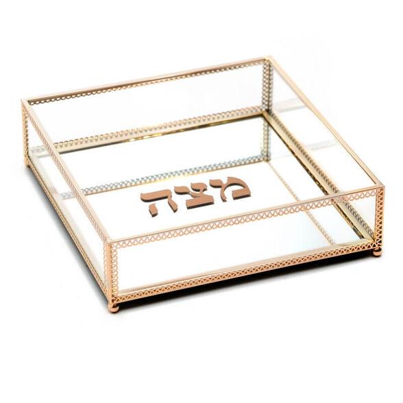 קופסת אחסון למצות מזכוכית עם מסגרת מוזהבת מבית Novell Collection, , large image number null