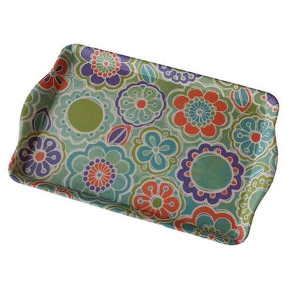 """מגש פרחוני """"שטיח פרחים"""" מבמבוק , קל לניקוי ועמיד במדיח, , large image number null"""