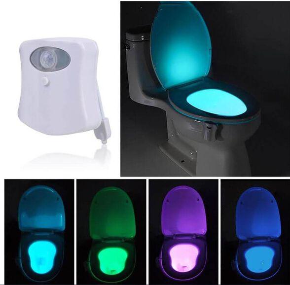 תאורה אוטומטית (עם חיישן תנועה ואור) לאסלה, מחליפה צבעים, , large image number null