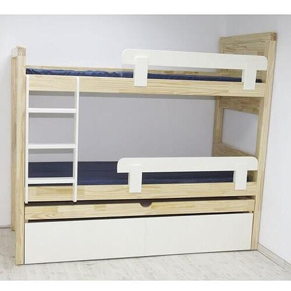 מיטת קומתיים נפתחת לילדים מעץ מלא הכוללת: 3 מיטות + 3 מזרנים + 2 מגירות + 2 מגני בטיחות וסולם, , large image number null