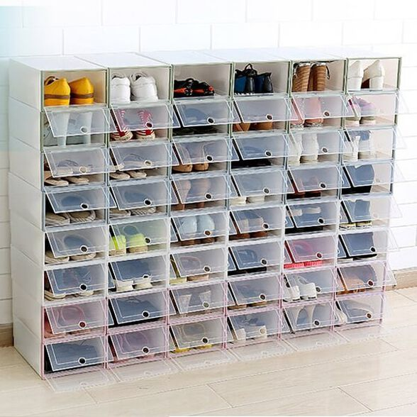 4 קופסאות FLOP נערמת לאחסון נעליים עם הדלת השקופה, מבית MiniMaxx, , large image number null