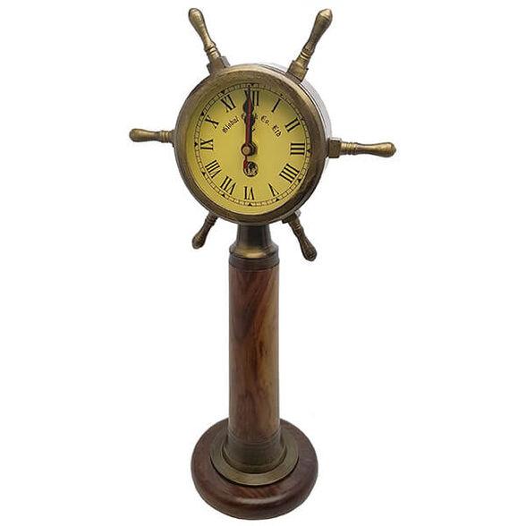 שעון נחושת בצורת הגה ספינה, על עמוד עץ עגול, , large image number null