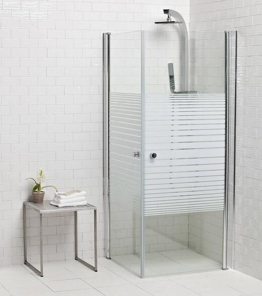 מקלחון פינתי עשוי זכוכית מחוסמת עם  2 דלתות נפתחות פנים/חוץ 180 מעלות   3 גדלים לבחירה   זכוכית לבחירה , , large image number null