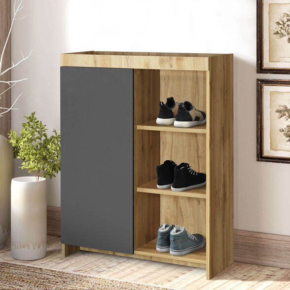 ארון נעליים עם תא סגור ומדפים HOME DECOR דגם ארז , , large image number null