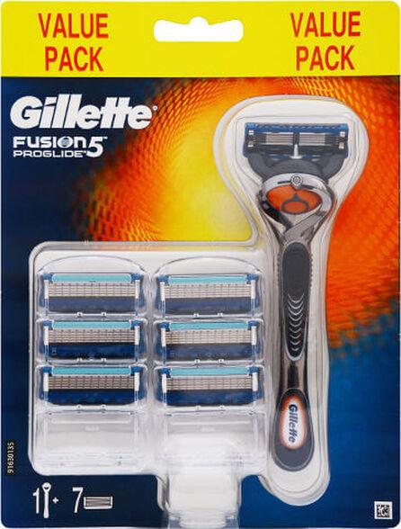 ידית גילוח + 7 סכינים Gillette Fusion פרוגלייד פלקסבול ידני, , large image number null
