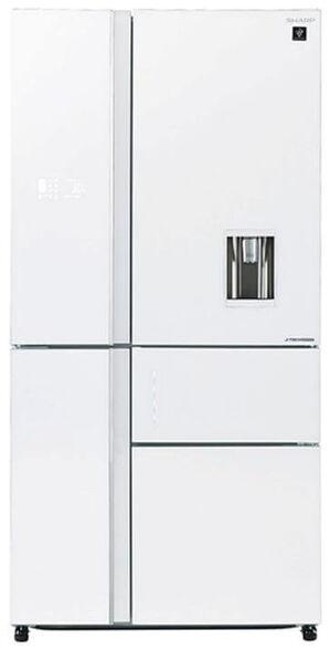 מקרר שארפ 5 דלתות 651 ליטר נטו  היבריד No-Frost  מדחס אינוורטר j-Tech inverter בגימור זכוכית לבנה דגם SJ-FSD910  , , large image number null