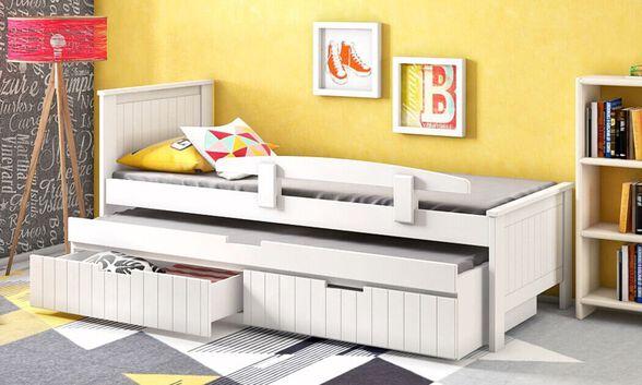 שמרת הזורע: מיטת ילדים ומיטת חבר איכותית המשולבת עץ מלא  עם גימור צבע בתנור חזקה וקלה לניקוי דגם 'אלמוג', , large image number null