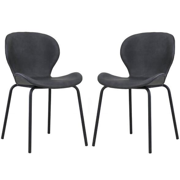 זוג כסאות לפינת אוכל עם רגלי מתכת HOME DECOR דגם שחר – משלוח חינם! , , large image number null