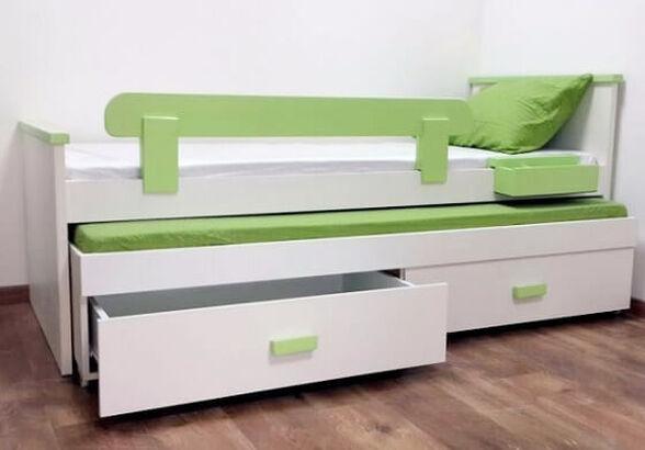 מיטת ילדים מעץ משולב קודקוד דגם מורן עם מיטה נשלפת כולל 2 מזרנים מגן בטיחות ו-2 מגירות אחסון במבחר צבעים, , large image number null