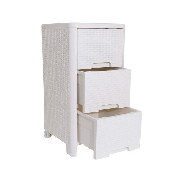 מגירונית ראטן 3 מגירות ניידת בצבע לבן   מצוינת לחדרי אמבטיה וחדרי ילדים LIPSKY, , large image number null