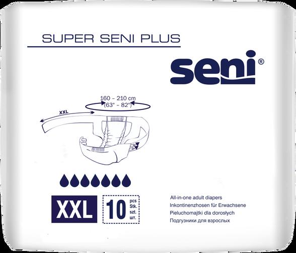 """חיתולי סופר SENI פלוס 10 יח' מידה XXL היקף מותניים 160-210 ס""""מ בעלי סמן רטיבות, , large image number null"""