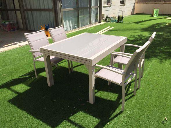 שולחן אלומיניום נפתח לחצר/גן כולל 4 כיסאות מרופדים   צבע לבחירה, , large image number null