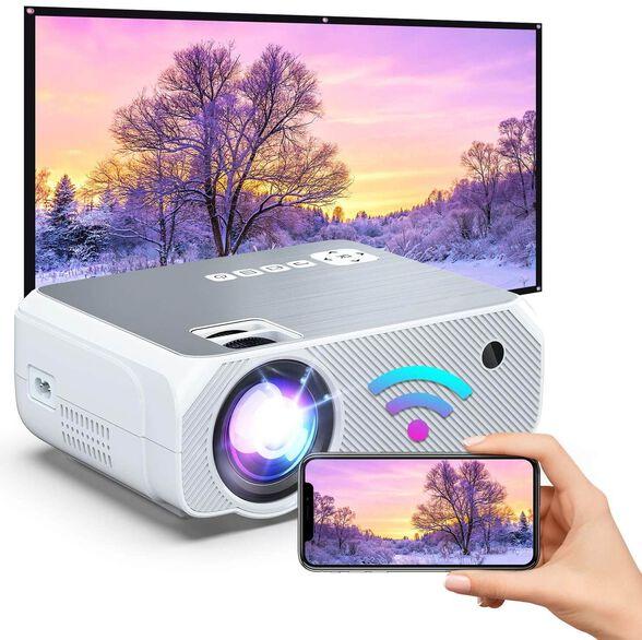 מקרן מולטימדיה אלחוטי ועוצמתי עד 150 אינץ בטכנולוגיית FULL HD  LED חיבור אלחוטי לכל סמארטפון מחשב או טאבלט ללא צורך בחוטים + שלט רחוק לשליטה מלאה, , large image number null