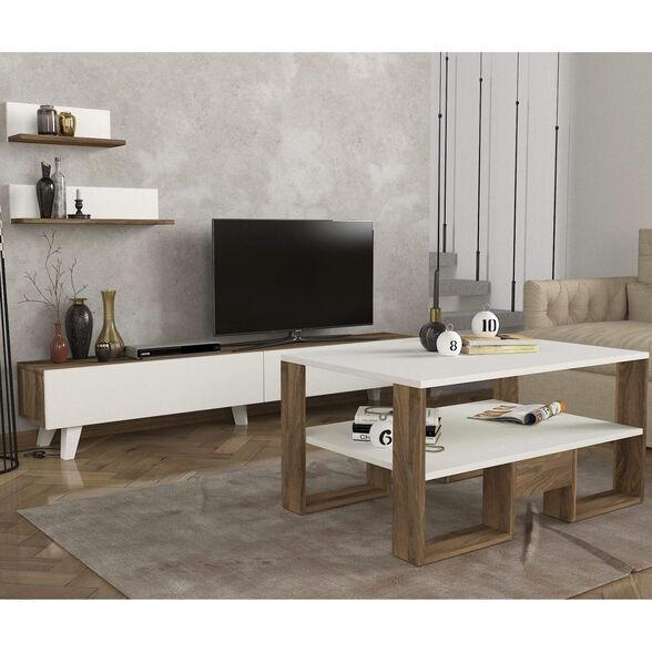 סט שולחן + מזנון טלוויזיה 1.8 מטר + מדפי תליה דגם Amerika מבית GEVA DESIGN, , large image number null
