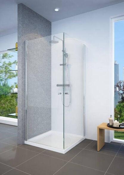 """מקלחון פינתי ניקל עשוי זכוכית מחוסמת 6 מ""""מ עם 2 דלתות נפתחות פנימה והחוצה, , large image number null"""