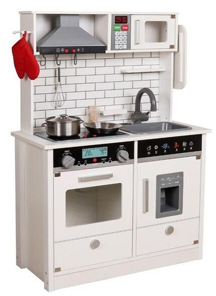 מטבח משחק לילדים עם אורות וצלילים, מתקן קוביות קרח ו 9 אביזרי משחק - שמנת, , large image number null
