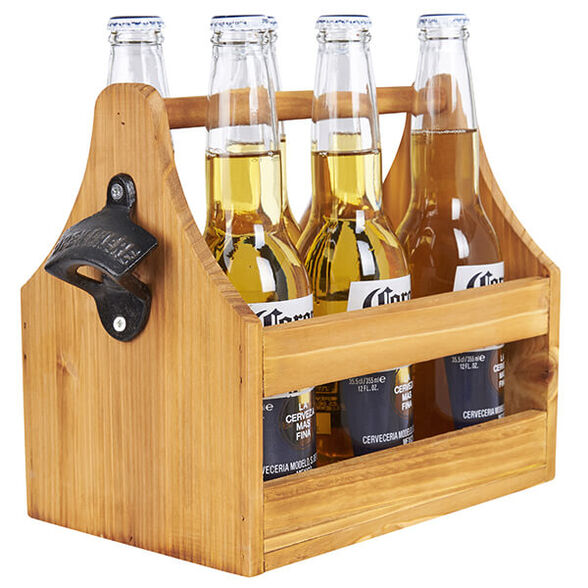 מתנה לחובבי אלכוהול ובירה | מנשא עץ לשישה בקבוקי בירה עם פותחן, , large image number null