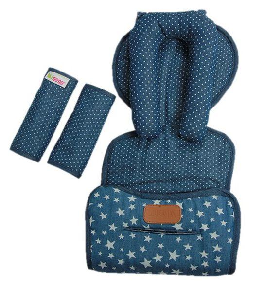 מארז ריפודית, תומך ראש וחבקים מעוצב לסלקל - ג'ינס כחול כוכבים, , large image number null