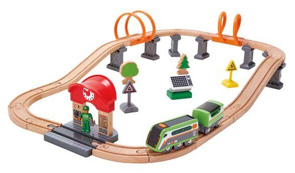 סט רכבת משחק מעץ 37 חלקים עם קטר מאיר באמצעות אנרגיית השמש, , large image number null