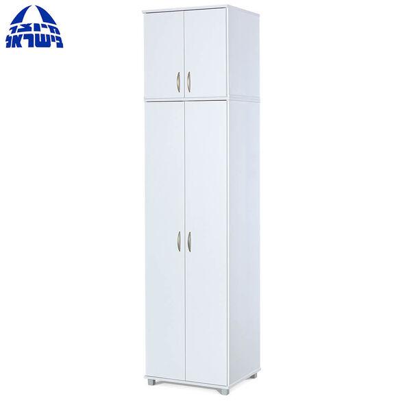 """ארון בגדים 4 דלתות 240 ס""""מ משולב תלייה דגם יהב בצבע לבן מבית רהיטי יראון תוצרת ישראל, , large image number null"""