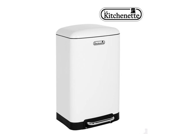 פח דוושה למטבח טריקה שקטה בנפח 30 ליטר בצבע לבן LA KITCHENETTE, , large image number null