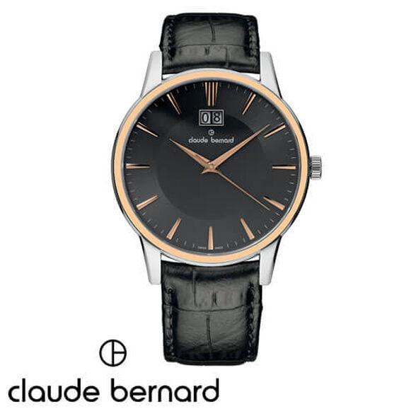 שעון יד שוויצרי לגבר בהרכבה ידנית מבית CLAUDE BERNARD עשוי פלדת אל חלד וזכוכית ספיר עמיד במים, , large image number null