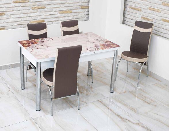"""פינת אוכל מזכוכית נפתחת עד 170 ס""""מ בעיצוב מרהיב עם 4 כסאות תואמים מבית Or-Design דגם חום פרחוני_פרחוני כפי שמופיע בתמונה הראשית, , large image number null"""