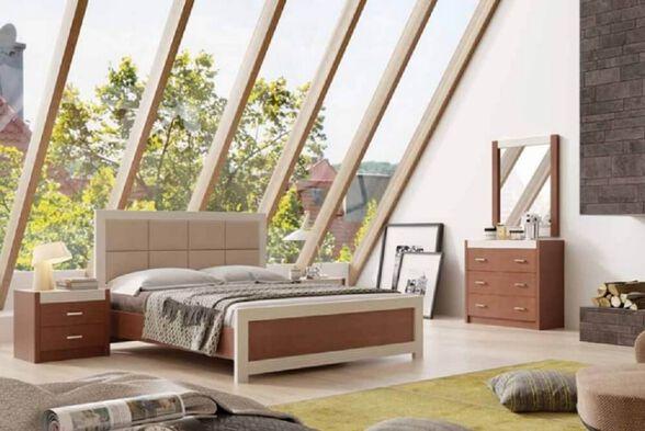 חדר שינה עשוי עץ מבית - House Design עם גב מרופד- ייצור ישראלי - כחול לבן - דגם נפולי, , large image number null