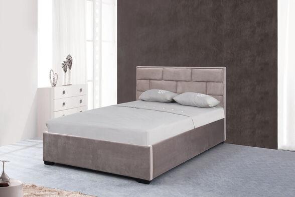 מיטה זוגית מעוצבת בריפוד בד קטיפתי עם ארגז מצעים מעץ HOME DECOR דגם ברלין , , large image number null