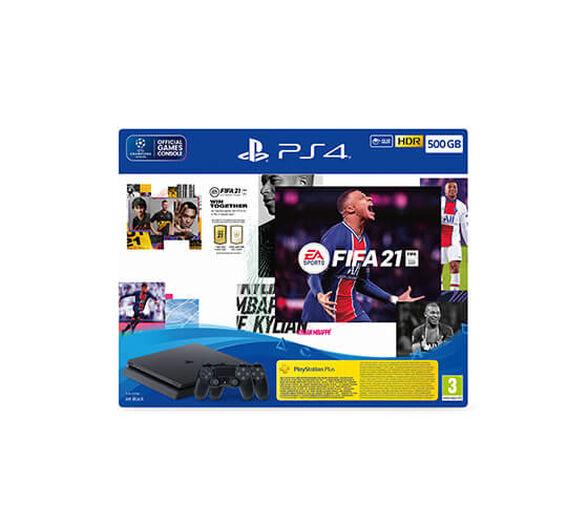 קונסולת PS4 SLIM בנפח עצום 500 גיגה בעיצוב הדק החדש במארז מיוחד הכולל שני בקרים ומשחק FIFA 2021 , , large image number null