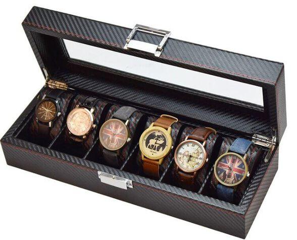 קופסא מהודרת ( קרבון )  ל 6 שעונים ותכשיטים, , large image number null