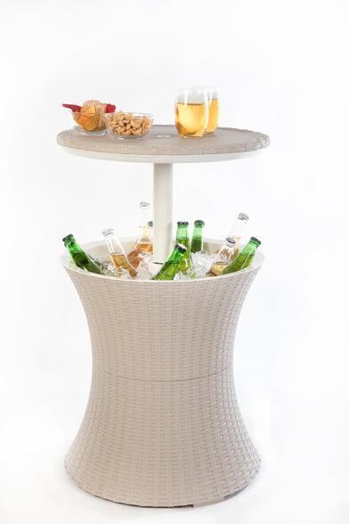 NEW! קול בר פסיפיק cool bar pacific המקורי של כתר פלסטיק שולחן מעוצב משולב צידנית בר למשקאות של כתר פלסטיק נפח 30 ל' עיצוב כפרי מדף מתרומם ופתח ניקוז לבית לחצר ולפיקניק ., , large image number null