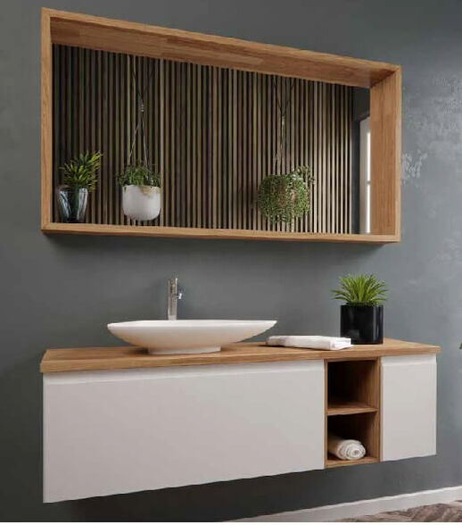 סט ארון אמבטיה תלוי עם משטח בוצ'ר אלון- דגם מרטין \ מגוון מידות וצבעים לבחירה, , large image number null