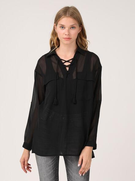 חולצת שיפון עם כיסים, , large image number null