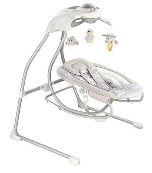 נדנדה חשמלית לתינוק 2 ב 1 משולבת טרמפולינה, מובייל ומקרן תקרה BY028 - אפור, , large image number null