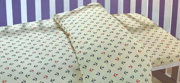 סט מצעים למיטת תינוק   דגם עוגן, , large image number null