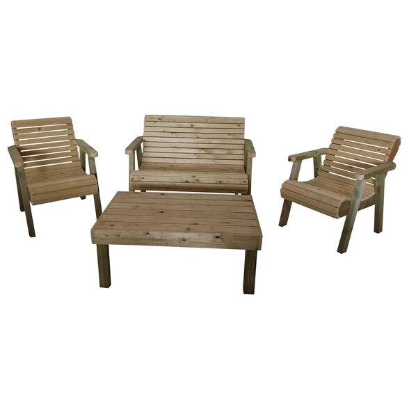מערכת ישיבה לגן 4 חלקים מעץ מלא כוללת שולחן ספסל דו מושבי ו-2 ספסלי יחיד בעיצוב יוקרתי בעבודת יד דגם שוהם, , large image number null