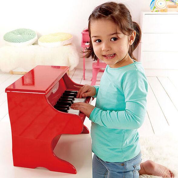 פסנתר אדום מעץ מלא עם 18 מקשים, , large image number null