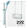 סט מעוצב לחדר אמבטיה מבית ZM מקבוצת חמת | כולל מוט מקלחת, מתלה ללא הברגה ווילון אמבט לבן. | מגוון שדרוגים לבחירה