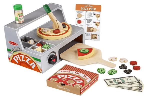 דלפק ותנור להכנת פיצה Melisssa & Doug | עשוי עץ, מכיל 34 חלקים | דגם 9465, , large image number null