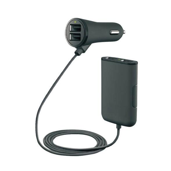 מטען USB לרכב, שתי יצאות בחיבור למצת ועוד שתי יציאות לחיבור במושב האחורי, , large image number null