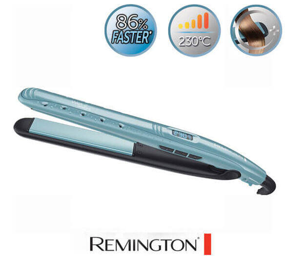 מחליק שיער יבש רטוב WET2STRAIGHT מבית REMINGTON דגם S7300 בעל פלטות קרמיות ומנגנון חימום טורבו | כולל מנגנון בטיחות , , large image number null